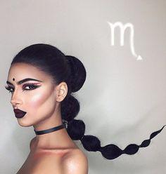 mujer con maquillaje de escorpio y cola de caballo larga
