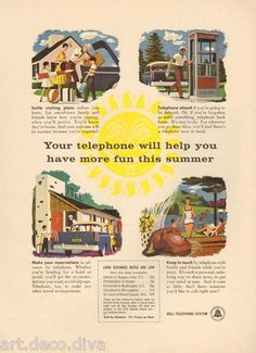 Vintage Poster:  Your telephone will help you have more fun this summer.