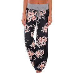 bdac1654d2948 Women Loose Floral Print Wide Leg Pants Loose Mid Waist Straight Trousers  Long Female Trousers Fashion Sweatpants Bottoms