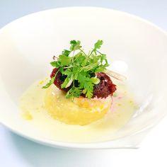 Nigel Haworth. Lancashire cheese soufflé, beetroot relish, milk foam