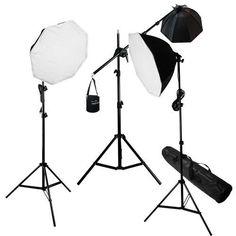 Lusana Studio Digital Video Studio Softbox Lighting Boom Light Kit, Overhead Boom Stand Lighting Kit Bag, CFL Bulbs, Silver