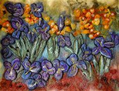 Iris Garden felted 'watercolor' by CoyoteRimStudio on Etsy, $425.00