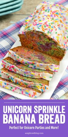 Perfect for Unicorn Breakfasts Unicorn Parties National Unicorn Day and more bake up a batch of this delicious and fun Unicorn Banana Bread! Unicorn Foods, Salty Cake, Baking With Kids, Partys, Savoury Cake, Breakfast For Kids, Sweet Bread, Clean Eating Snacks, Dessert Recipes