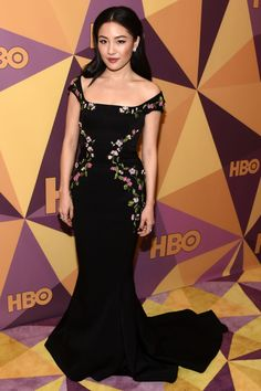 CONSTANCE WU in an off-the-shoulder Zac Posen gown with a mermaid silhouette and floral embroidery at the HBO After Party.