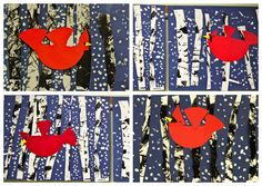 Charley Harper Cardinals in Flight / uses No Two Alike