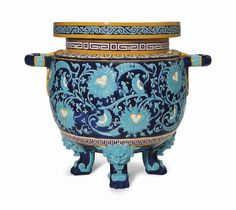 A MINTONS MAJOLICA COBALT-BLUE AND TURQUOISE GROUND JARDINIERE CIRCA 1879