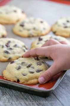 These chocolate chip cookies stay soft for days. Chocolatey good and not overly sweet.   NatashasKitchen.com