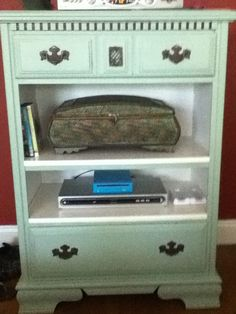 upcycled dresser like using the open shelves for dvd, dish players.