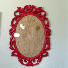 DIY earring hanger. 5$ ARC frame with burlap from ACE.