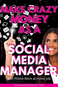 One of the most in-demand non phone work at home jobs you can do is social media. Find out how you can learn from one of the top experts to become a successful social media manager working at home and make money online. Sign up now. #nonphonejobs #nonphoneworkathomejobs #workathomejobs #workfromhomeideas #socialmediamanager #makemoneyathome #makemoneyonline #howtoworkfromhome #workathomemom #workathomedad #stayathomemom #teamworkdream Work From Home Companies, Online Work From Home, Work From Home Business, Work From Home Tips, Earn Money From Home, Earn Money Online, How To Make Money, How To Become, Legit Online Jobs