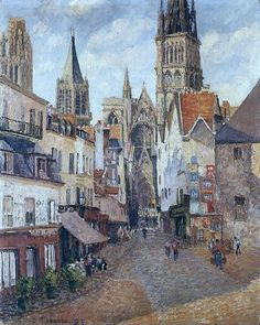 Sunlight, Afternoon, the Epicerie Street, Rouen, 1898. Camille Pissarro