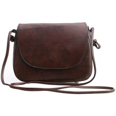 Faux Leather Magnetic Closure Saddle Bag - Dark Brown ($11) ❤ liked on Polyvore featuring bags, handbags, shoulder bags, brown, brown purse, dark brown purse, faux leather crossbody, vegan handbags and vegan purses