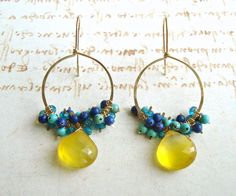Yellow Blue Hoop Cluster Earrings, Gold Filled Chandelier Hoops With Apatite, Turquoise, Lapiz, Butterscotch Chalcedony Yellow Earrings, Cluster Earrings, Wire Earrings, Polymer Clay Earrings, Chandelier Earrings, Wire Wrapped Jewelry, Wire Jewelry, Beaded Jewelry, Turquoise Chandelier