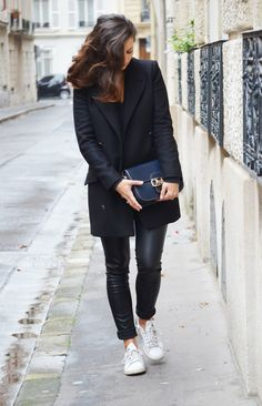 From http://wasted-hours.fr/ Mango coat Vero moda faux leather pants Stan Smith  Céline vintage bag