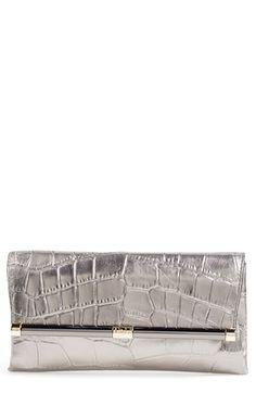 DIANE VON FURSTENBERG '440' Croc Embossed Metallic Leather Envelope Clutch. #dianevonfurstenberg #bags #leather #clutch #lining #metallic #hand bags
