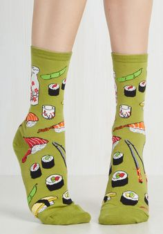Say What You Sushi Socks in Olive. Afternoon lunch is perfectly playful when you sport these sushi-patterned socks at the table! #green #modcloth