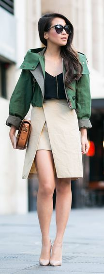Crop Jacket And Wrap Skirt Outfit Idea by Wendy's Lookbook