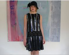 Flapper dress, 1920s dress, Charleston, 20s clothing, black and silver sequin, 1920s wedding party, Great Gatsby party dress via Etsy