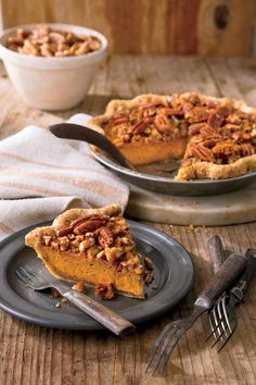 Pumpkin-Pecan Streusel Pie - Perfect Pumpkin Pie Recipes - Southernliving. Recipe: Pumpkin-Pecan Streusel Pie  Create the chunky texture by leaving those extra-big blueberry-size pieces in the Pecan Streusel Topping mix.