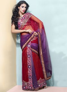 Shaded Red And Purple Lehenga Style Saree