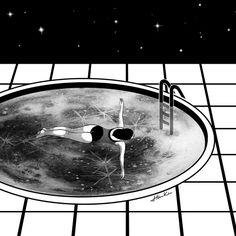 | Pool Moon | by Henn Kim Go Get Art Print