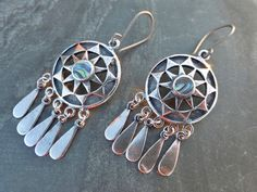 Antique Silver Ox Southwestern Boho Dreamcatcher Earrings With Paua Shell Inlay - Hypoallergenic Titanium OR Sterling Silver Ear Wires by PhoebesBazaar on Etsy