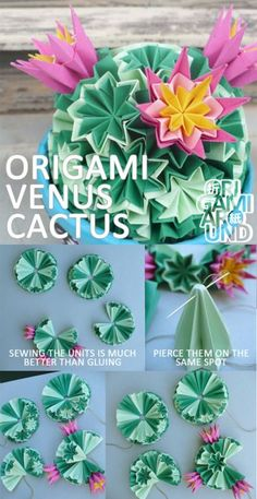 origami venus kusudama cactus The whole tutori.,an origami venus kusudama cactus The whole tutori. Origami Design, Diy Origami, Origami Simple, Origami Modular, Cute Origami, Origami Paper Art, Origami Ideas, Kirigami, Origami Flowers Tutorial