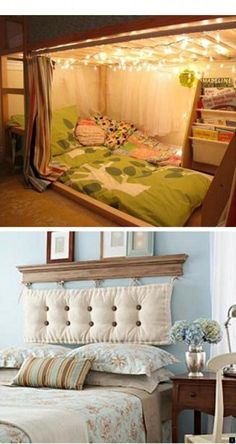 27 Unique Bed Ideas For Kids and Adults: There's a lot of great ideas in this list. Good headboard ideas and some really amazing kids bed design ideas. We want to merge our boys rooms and do the bunk bed. Home And Deco, Home Bedroom, Bedroom Rugs, Bedroom Loft, Master Bedrooms, Bedroom Ideas, Kid Beds, My New Room, Cozy House
