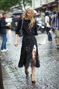 Julia Von Boehm in WES GORDON Skirt || Couture, Couture! Street Style Fall 2014 @harpersbazaar