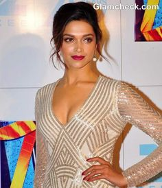 Deepika Padukone Hairstyle & Makeup at Zee Cine Awards 2013
