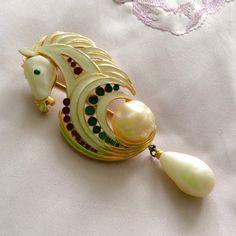 Hattie Carnegie Enamel Baroque Pearl Horse Brooch Vintage Jewelry Rare on Etsy, $1,245.17 AUD