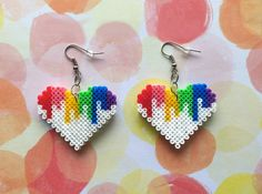 Colorful Hearts 8-bit pixel bead earrings made from Perler beads/Hama beads/mini Hama beads by: 8BitEarrings on Etsy