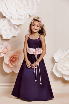 Alfred Angelo Girls Dress Style 6634- Spaghetti Strap Dress with Satin Flowers.  Dress and sash can be ordered in any color.