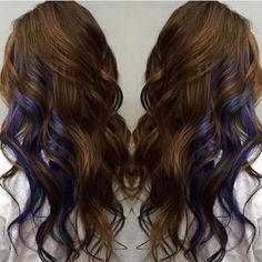 Brown with peek a boo blue streaks