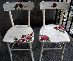 Wooden chairs - decoupage