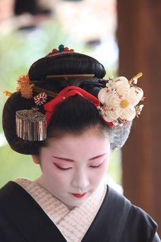 和髪、かんざし maiko Fumisono wearing plum blossom kanzashi. Photo by noririn