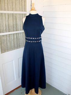 Navy Blue Maxi Dress   Metallic Trim  Vintage by ChimpVintage, $32.00