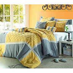 @Overstock - Add a vibrant burst of color to your home with this 8-piece oversized comforter set. Featuring a bright color palette, this comforter set is finished with delicate diamond-stitched detailing and a border design.http://www.overstock.com/Bedding-Bath/Yellow-Grey-Oversized-8-piece-Comforter-Set/6575272/product.html?CID=214117 $99.99