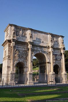 The Arch of Constantine, located right next to the Colosseum, is the largest of the remaining Roman triumphal arches. It was built in 315 AD after Constantine's surprising victory over Maxentius at the Battle of the Milvian Bridge.