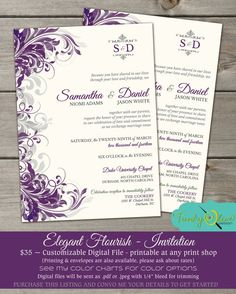 Purple Amp Gray Flourish Wedding Invitation Shower Rehearsal Dinner Green Modern Template Printable Best Free Home Design Idea Inspiration