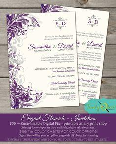 diy invitations purple and grey   Purple & Gray Flourish Wedding Invitation, Shower, Rehearsal Dinner ...