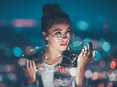 You light up my world / LA artist musician & Optical Connection customer & friend / Brandon Woelfel Fairy Light Photography, Bokeh Photography, Creative Portrait Photography, Portrait Photography Poses, Amazing Photography, Street Photography, Photography Ideas, Fotografia Bokeh, Photographie Bokeh