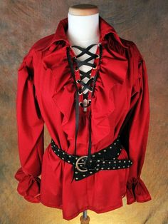 This particular design is a unisex ruffle pirate style Renaissance shirt! It has a lace up neckline with a ruffle and Renaissance Shirt, Renaissance Pirate, Pirate Fashion, Pirate Shirts, Steampunk, Medieval Clothing, Gothic, Character Outfits, Pirates