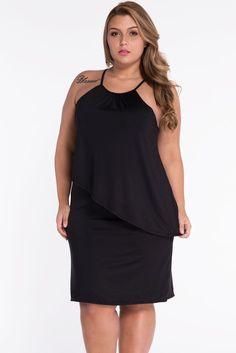 Black Plus Size Swing Dress LAVELIQ - LAVELIQ - 1