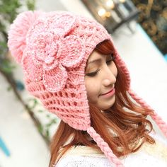 New arrival colorful autumn and winter suitable Korean warm wool hat Crochet flower small plait wool hair ball hat for women $9.98 Crochet Beanie Hat, Crochet Gloves, Crochet Scarves, Knitted Hats, Afghan Crochet Patterns, Crochet Stitches, Knit Crochet, Crochet Character Hats, Crochet Hair Styles