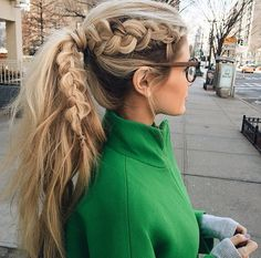 An accent viking braid ponytail combo