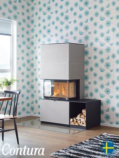Fireplace Contura i51AN. Artstone natural is raw concrete polished to a smooth surface with a soft grey hue, for those who like daring elegance.