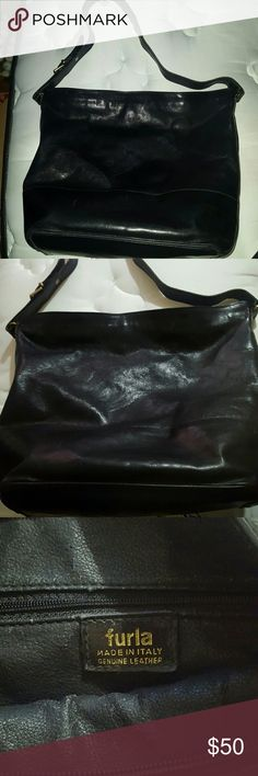 Furla leather shoulder bag Black Furla genuine leather bag. Regular wear on zipper and bag but over all in good condition. No tears. No stains. Inner lining is starting to fade. Furla Bags