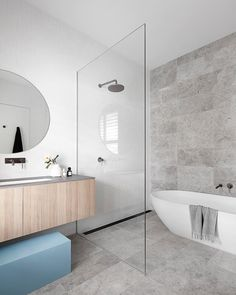 likes, 18 comments, heartlydesignstudio username, The family bathroom (one of three!) behind the heritage facade of the cutest Richmond workers cottage 🙌🏻 featured in beautiful this month. Modern Master Bathroom, Family Bathroom, Modern Bathroom Design, Bathroom Interior Design, Small Bathroom, Light Grey Bathrooms, Minimalist Bathroom Design, Dyi Bathroom, Concrete Bathroom