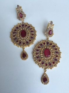Indian Pakistani Traditional Gold-plated Stone Earrings